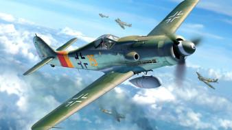 FW-190D-9, Wurger, поршневой истребитель-моноплан, Spitfire, Люфтваффе, Focke-Wulf, немецкий одноместный одномоторный