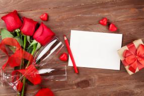 розы, бокалы, бумага, сердечки, цветы, подарок, карандаш