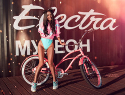девушка, фон, велосипед, взгляд