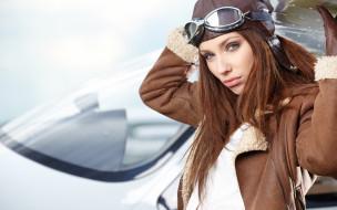 шлем, модель, очки, шатенка, куртка