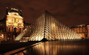 пирамида, огни, Лувр