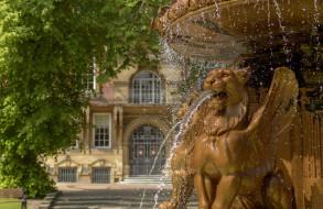 Англия, фонтан, England, дерево, Leicester Town Hall, Leicester, Лестер, ратуша