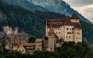 горный пейзаж, бальзерс, лихтенштейн, средневековый замок, крепость, замок гутенберг