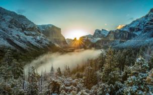 yosemite national park, usa, природа, восходы, закаты, лес, пейзаж, горы, утро, национальный, парк, йосемити, сша, сьерра-невада, калифорния, восход, туман