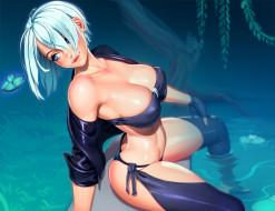 аниме, unknown,  другое , девушка, фон, взгляд, вода