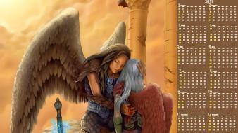кровь, оружие, крылья, девушка, двое