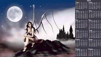 девушка, замок, луна