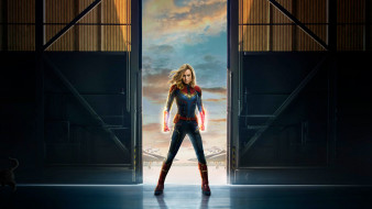 официальный постер, films, фантастика, капитан марвел, 2019, бри ларсон, боевик, captain marvel