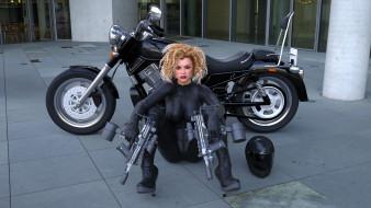 мотоциклы, 3d, мотоцикл, девушка, оружие