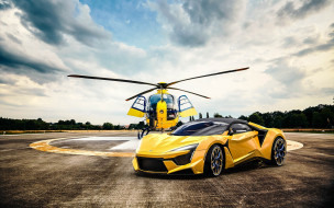 w motors, 2018, суперкар, автомобиль, fenyr, желтый, арабские автомобили, вертолет