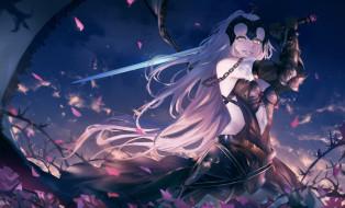 девушка, меч, сакура, лепестки, Fate Grand Order