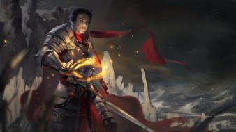 магия, латы, фон, меч, рыцарь, мужчина