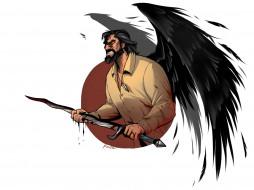 ангел, мужчина, кровь, крылья, меч