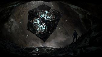 артефакт, куб, шар, люди, пещера