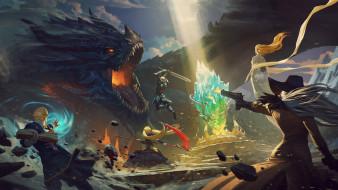 бой, дракон, мужчины, девушка, магия, книга