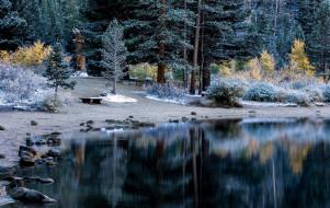 обои для рабочего стола 2560x1621 природа, реки, озера, иней