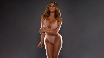 женщины, модель, простой фон, большая грудь, соблазнительная, купальник, анастасия квитко, wallhaven