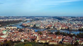 река, мосты, панорама, влтава