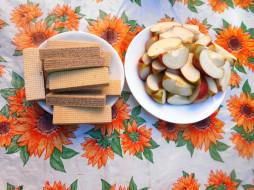 еда, яблоки, бананы