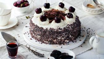шоколад, торт, вишни