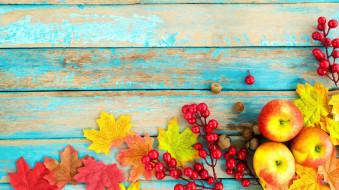 яблоки, листья, осень