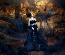 лес, Black swan, Aileen Zygier, Ronny Garcia, модель, платье, стиль