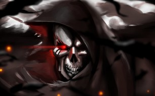 аниме, overlord, капюшон, череп, фэнтези, скелет, арт
