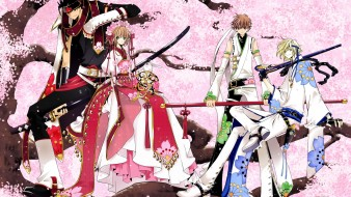 аниме, tsubasa reservoir chronicles, сакура, кимоно, девушка, парни, оружие