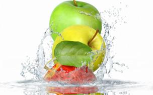 листья, брызги, яблоки, вода