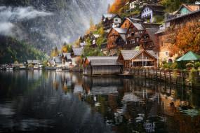 города, гальштат , австрия, архитектура, дом, вода, wallhaven, на, открытом, воздухе, озеро, горы, пейзаж