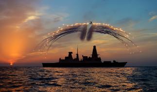 destroyer, royal navy, вмc великобритании, type 45, вертолет, ложные цели