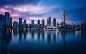 торонто,  канада, города, торонто , канада, утро, сn, tower, набережная, онтарио, современные, здания