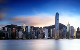 гонконг,  китай, города, гонконг , китай, гавань, виктории, азия, городские, пейзажи, современные, здания, утро