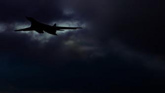 Бомбардировщик, Ту 160, Полет, Небо, Россия, Тучи, Силуэт, ВВС, Авиация, СССР, Самолет, Лебедь