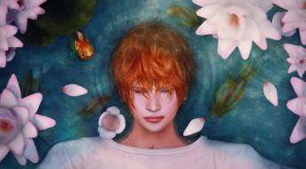 вода, цветы, лилии, парень