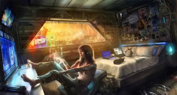 фэнтези, девушки, cyberpunk, голограмма, киберпанк, рисунок, девушка, будущее, windows, арт, комната, котенок, art