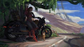 фэнтези, девушки, коты, si-fi, мотоцикл, кошки, рисунок, девушка