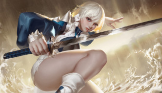 арт, девушка, поза, оружие, фэнтези, меч, волны, взгляд