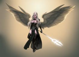 фэнтези, ангелы, посох, крылья, взгляд, фон, девушка