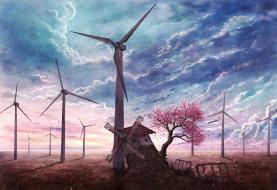мельница, тучи, дерево, ветряки
