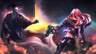 пистолет, мужчина, девушка