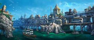 фэнтези, иные миры,  иные времена, город, скалы, корабль, фон