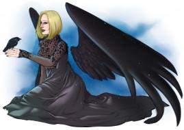 крылья, ворон, девушка, фон