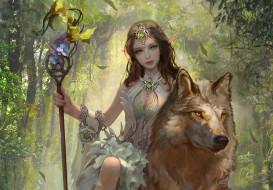 обои для рабочего стола 1920x1337 фэнтези, эльфы, животное, волк, девушка, взгляд, арт, эльфийка, сидит