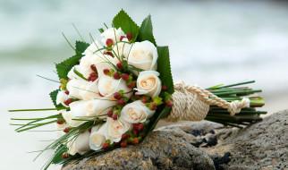 цветы, букеты,  композиции, букет, розы, веревка, камни