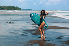surfboards, vetlana ikonova, tanned, Women, ass, sea, portrait, onepiece swimsuit