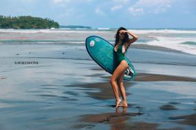 surfboards, vetlana ikonova, tanned, Women, ass, sea, portrait, onepiece swimsuit