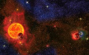 обои для рабочего стола 2559x1571 космос, арт, звезды, галактики, планеты, вселенная