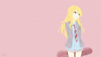 аниме, shigatsu wa kimi no uso, фон, взгляд, девушка
