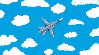 ВВС России, Минимализм, Су-24, Самолет, Истребитель, Вид сверху, Арт, Облака, Россия